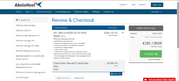 Order Hosting from Abelohost:  review and Checkout
