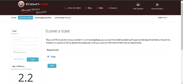 Knownhost Support: Submit Ticket