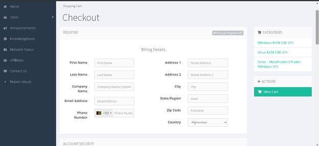 Order Hosting From PiVPS: checkout