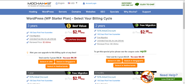 Order Hosting from MochaHost : Billing Cycle